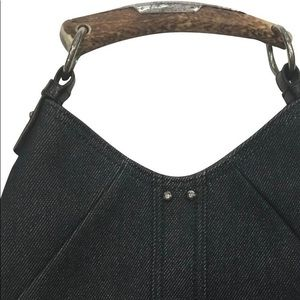 YSL black/gray canvas bag with horn handle